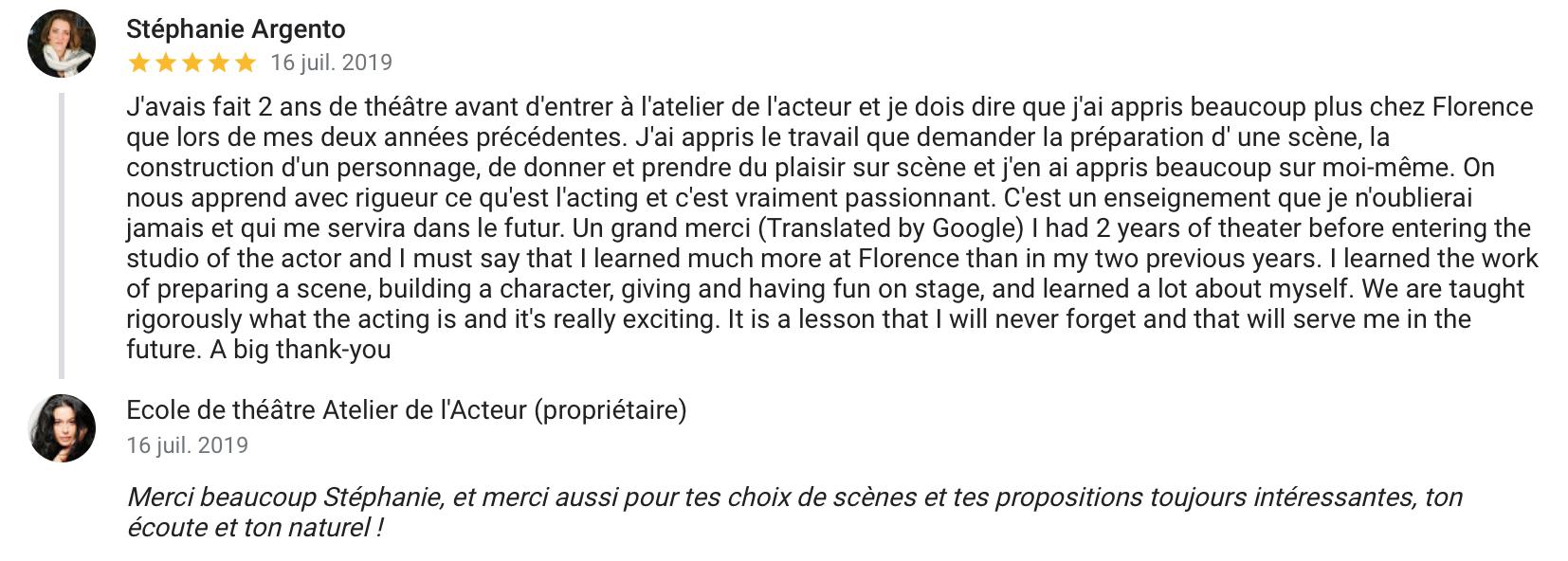 cours acteur paris